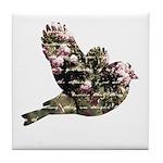 Inspired Pink Roses Bird Tile Coaster