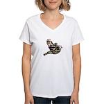 Inspired Pink Roses Bird Women's V-Neck T-Shirt