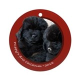 Newfie Puppy's 1st Christmas Round Red Ornament