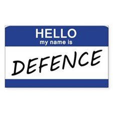 Hello my name is Defence Bumper Stickers
