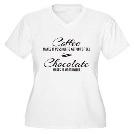 Coffee Chocolate Women's Plus Size V-Neck T-Shirt