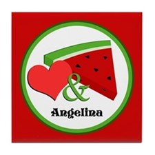 Love and Watermelon - Personalized Tile Coaster