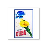 "Cuba Travel Poster 7 Square Sticker 3"" x 3"""