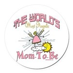 Angelic New Mom Round Car Magnet