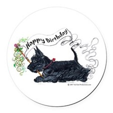 Happy Birthday Banner.png Round Car Magnet