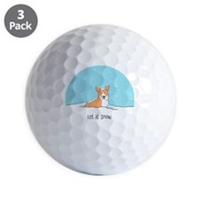 Corgi Let It Snow Golf Ball