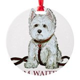 Westie waiting 9x9 2006.png Round Ornament