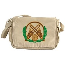 Crossed Chainsaw Timber Wood Leaf Messenger Bag