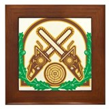 Crossed Chainsaw Timber Wood Leaf Framed Tile