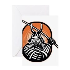 Japanese Samurai Warrior Sword Retro Greeting Card