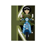 Mod Girl on Retro Scooter Rectangle Magnet