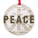 Distressed Peace Round Ornament