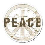 Distressed Peace Round Car Magnet