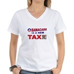 OBAMACARE TAX.jpg Women's V-Neck T-Shirt