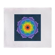 Rainbow Lotus Mandala Throw Blanket