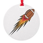 football on fire copy.jpg Round Ornament