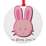 breast cancer bunny.psd Round Ornament