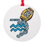aquarius water symbol.jpg Round Ornament