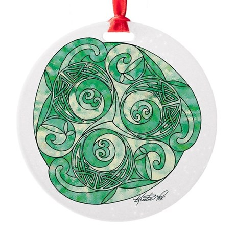 Celtic Green Trispiral Round Ornament