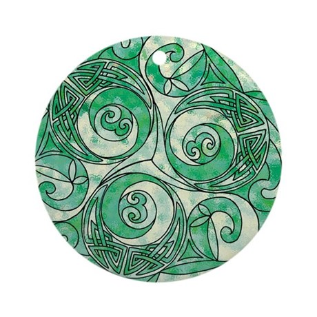 Celtic Green Trispiral Ornament (Round)