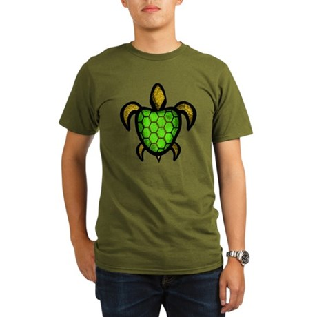 Green Shell Turtle Organic Men's T-Shirt (dark)