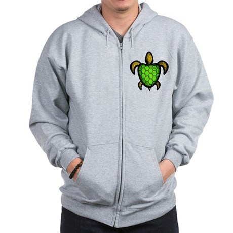 Green Shell Turtle Zip Hoodie
