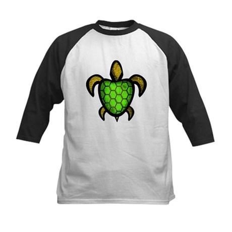 Green Shell Turtle Kids Baseball Jersey