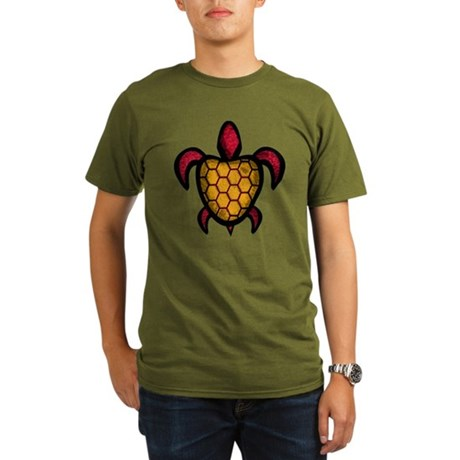 Orange Shell Turtle Organic Men's T-Shirt (dark)