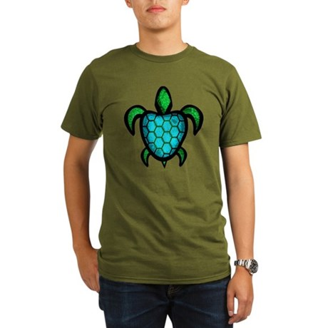 Blue Shell Turtle Organic Men's T-Shirt (dark)
