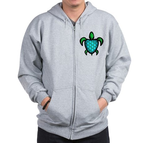 Blue Shell Turtle Zip Hoodie