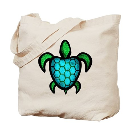 Blue Shell Turtle Tote Bag