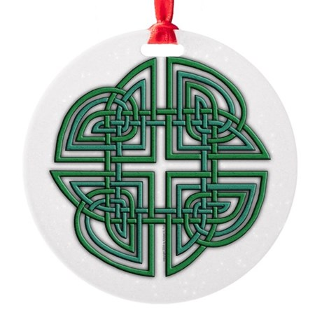 Celtic Four Leaf Clover Round Ornament