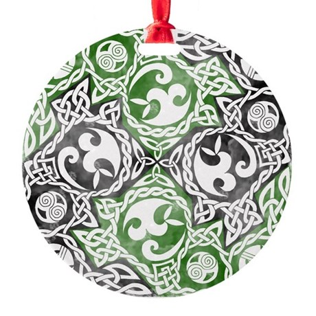 Celtic Knotwork Puzzle Square Round Ornament