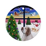 XmasWindow-Clumber Spaniel Ornament (Round)