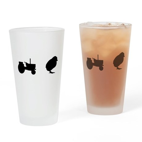 Tractor Chick Drinking Glass
