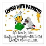 Living With Parrots - Blender Square Car Magnet 3