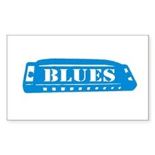 Blues Harmonica Rectangle Decal