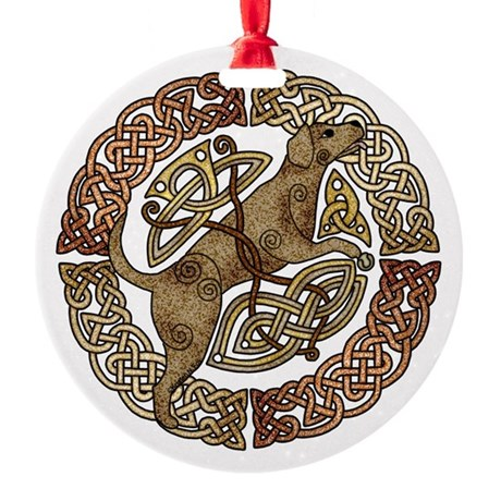 Celtic Dog Round Ornament