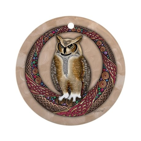 Celtic Owl Ornament (Round)