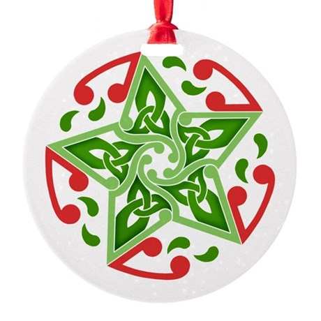 Celtic Christmas Star Round Ornament