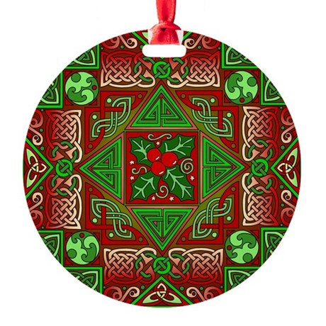 Celtic Labyrinth Holly Round Ornament