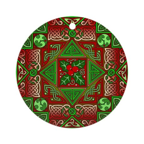 Celtic Labyrinth Holly Ornament (Round)