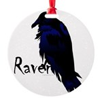Raven on Raven Round Ornament