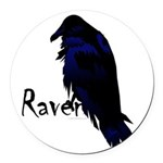Raven on Raven Round Car Magnet