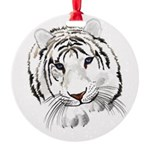 White Tiger Large Poster Round Ornament
