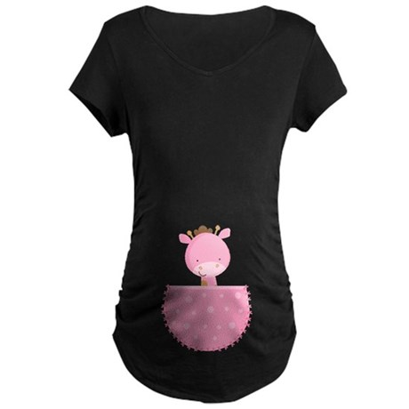 Pink Giraffe Belly Print Pregnancy Tee shirt