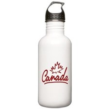 Canada Leaf Script Sports Water Bottle