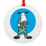 military cow in camo copy.jpg Round Ornament