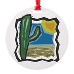 cactus scene copy.jpg Round Ornament