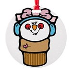 cute little girl snow cone.png Round Ornament